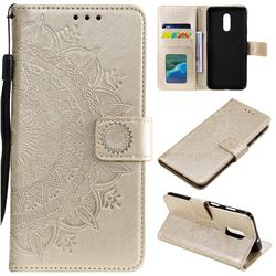 Intricate Embossing Datura Leather Wallet Case for OnePlus 7 - Golden