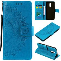 Intricate Embossing Datura Leather Wallet Case for OnePlus 7 - Blue