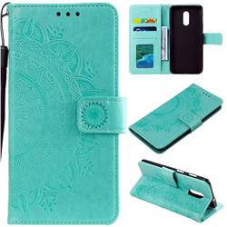 Intricate Embossing Datura Leather Wallet Case for OnePlus 7 - Mint Green