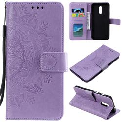 Intricate Embossing Datura Leather Wallet Case for OnePlus 7 - Purple
