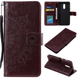 Intricate Embossing Datura Leather Wallet Case for OnePlus 7 - Brown