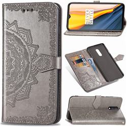 Embossing Imprint Mandala Flower Leather Wallet Case for OnePlus 7 - Gray
