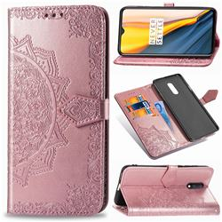 Embossing Imprint Mandala Flower Leather Wallet Case for OnePlus 7 - Rose Gold