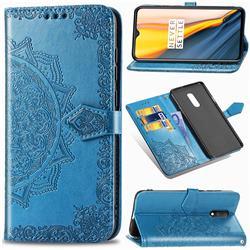 Embossing Imprint Mandala Flower Leather Wallet Case for OnePlus 7 - Blue