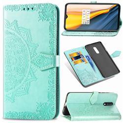 Embossing Imprint Mandala Flower Leather Wallet Case for OnePlus 7 - Green