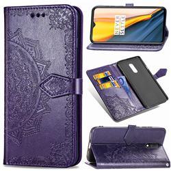 Embossing Imprint Mandala Flower Leather Wallet Case for OnePlus 7 - Purple