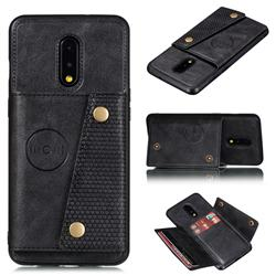 Retro Multifunction Card Slots Stand Leather Coated Phone Back Cover for OnePlus 7 - Black