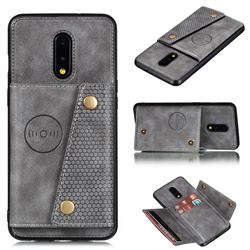 Retro Multifunction Card Slots Stand Leather Coated Phone Back Cover for OnePlus 7 - Gray