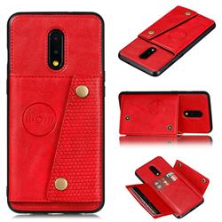 Retro Multifunction Card Slots Stand Leather Coated Phone Back Cover for OnePlus 7 - Red