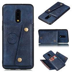 Retro Multifunction Card Slots Stand Leather Coated Phone Back Cover for OnePlus 7 - Blue
