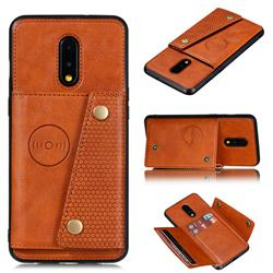 Retro Multifunction Card Slots Stand Leather Coated Phone Back Cover for OnePlus 7 - Brown