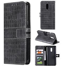 Luxury Crocodile Magnetic Leather Wallet Phone Case for OnePlus 7 - Gray