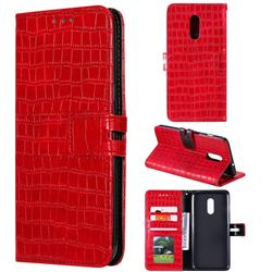 Luxury Crocodile Magnetic Leather Wallet Phone Case for OnePlus 7 - Red