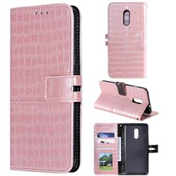Luxury Crocodile Magnetic Leather Wallet Phone Case for OnePlus 7 - Rose Gold
