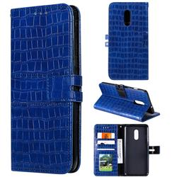 Luxury Crocodile Magnetic Leather Wallet Phone Case for OnePlus 7 - Blue