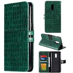 Luxury Crocodile Magnetic Leather Wallet Phone Case for OnePlus 7 - Green
