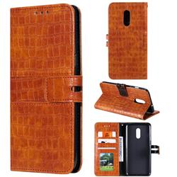 Luxury Crocodile Magnetic Leather Wallet Phone Case for OnePlus 7 - Brown