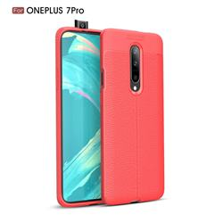 Luxury Auto Focus Litchi Texture Silicone TPU Back Cover for OnePlus 7 Pro - Red