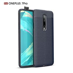 Luxury Auto Focus Litchi Texture Silicone TPU Back Cover for OnePlus 7 Pro - Dark Blue