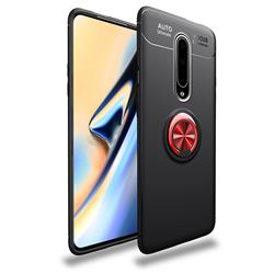 Auto Focus Invisible Ring Holder Soft Phone Case for OnePlus 7 Pro - Black Red