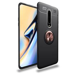 Auto Focus Invisible Ring Holder Soft Phone Case for OnePlus 7 Pro - Black Gold