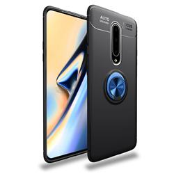 Auto Focus Invisible Ring Holder Soft Phone Case for OnePlus 7 Pro - Black Blue