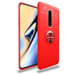 Auto Focus Invisible Ring Holder Soft Phone Case for OnePlus 7 Pro - Red