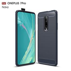 Luxury Carbon Fiber Brushed Wire Drawing Silicone TPU Back Cover for OnePlus 7 Pro - Navy