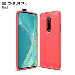 Luxury Carbon Fiber Brushed Wire Drawing Silicone TPU Back Cover for OnePlus 7 Pro - Red