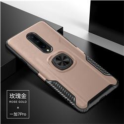 Knight Armor Anti Drop PC + Silicone Invisible Ring Holder Phone Cover for OnePlus 7 Pro - Rose Gold