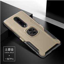 Knight Armor Anti Drop PC + Silicone Invisible Ring Holder Phone Cover for OnePlus 7 Pro - Champagne