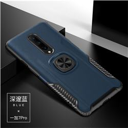 Knight Armor Anti Drop PC + Silicone Invisible Ring Holder Phone Cover for OnePlus 7 Pro - Sapphire