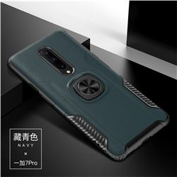 Knight Armor Anti Drop PC + Silicone Invisible Ring Holder Phone Cover for OnePlus 7 Pro - Navy