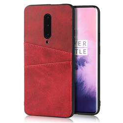 Simple Calf Card Slots Mobile Phone Back Cover for OnePlus 7 Pro - Red
