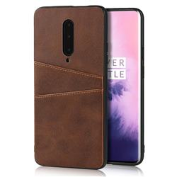 Simple Calf Card Slots Mobile Phone Back Cover for OnePlus 7 Pro - Coffee
