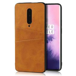 Simple Calf Card Slots Mobile Phone Back Cover for OnePlus 7 Pro - Yellow