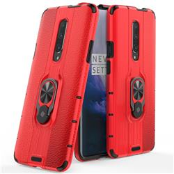 Alita Battle Angel Armor Metal Ring Grip Shockproof Dual Layer Rugged Hard Cover for OnePlus 7 Pro - Red