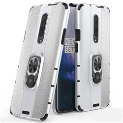 Alita Battle Angel Armor Metal Ring Grip Shockproof Dual Layer Rugged Hard Cover for OnePlus 7 Pro - Silver