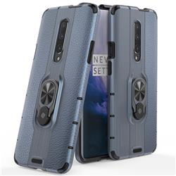 Alita Battle Angel Armor Metal Ring Grip Shockproof Dual Layer Rugged Hard Cover for OnePlus 7 Pro - Blue