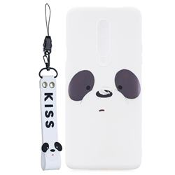 White Feather Panda Soft Kiss Candy Hand Strap Silicone Case for OnePlus 7 Pro