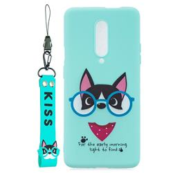 Green Glasses Dog Soft Kiss Candy Hand Strap Silicone Case for OnePlus 7 Pro
