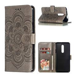 Intricate Embossing Datura Solar Leather Wallet Case for OnePlus 7 Pro - Gray