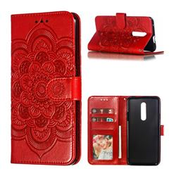 Intricate Embossing Datura Solar Leather Wallet Case for OnePlus 7 Pro - Red