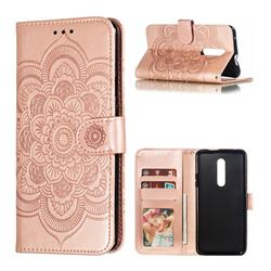 Intricate Embossing Datura Solar Leather Wallet Case for OnePlus 7 Pro - Rose Gold