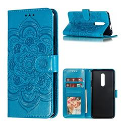 Intricate Embossing Datura Solar Leather Wallet Case for OnePlus 7 Pro - Blue