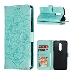 Intricate Embossing Datura Solar Leather Wallet Case for OnePlus 7 Pro - Green