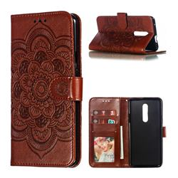 Intricate Embossing Datura Solar Leather Wallet Case for OnePlus 7 Pro - Brown