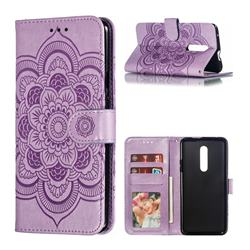 Intricate Embossing Datura Solar Leather Wallet Case for OnePlus 7 Pro - Purple