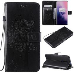 Embossing Butterfly Tree Leather Wallet Case for OnePlus 7 Pro - Black