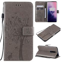 Embossing Butterfly Tree Leather Wallet Case for OnePlus 7 Pro - Grey
